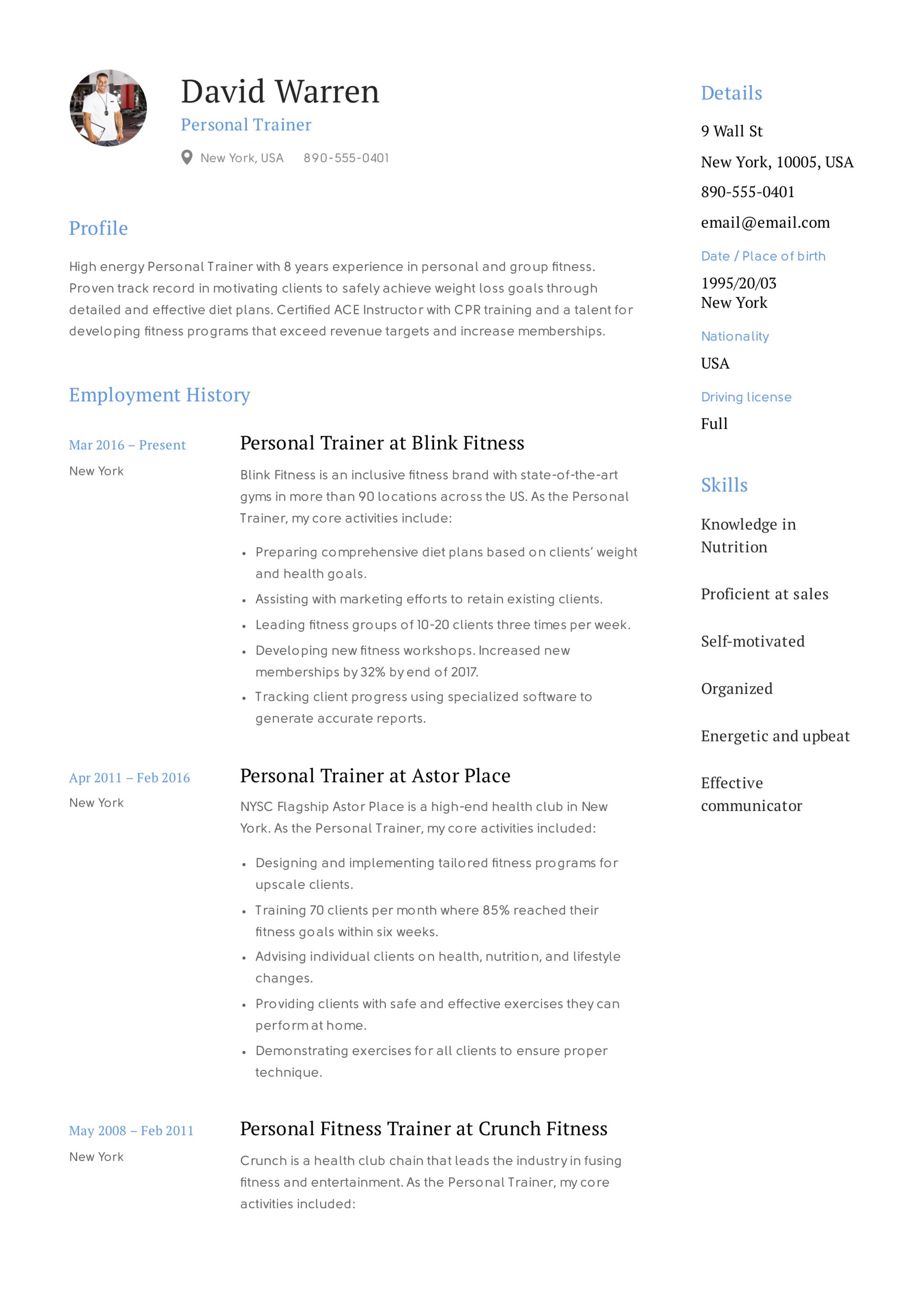 Resume Example - Personal Trainer