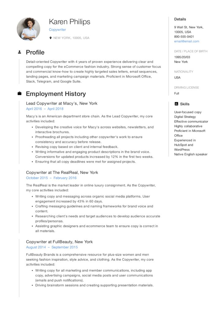 Resume Sample Copywriter