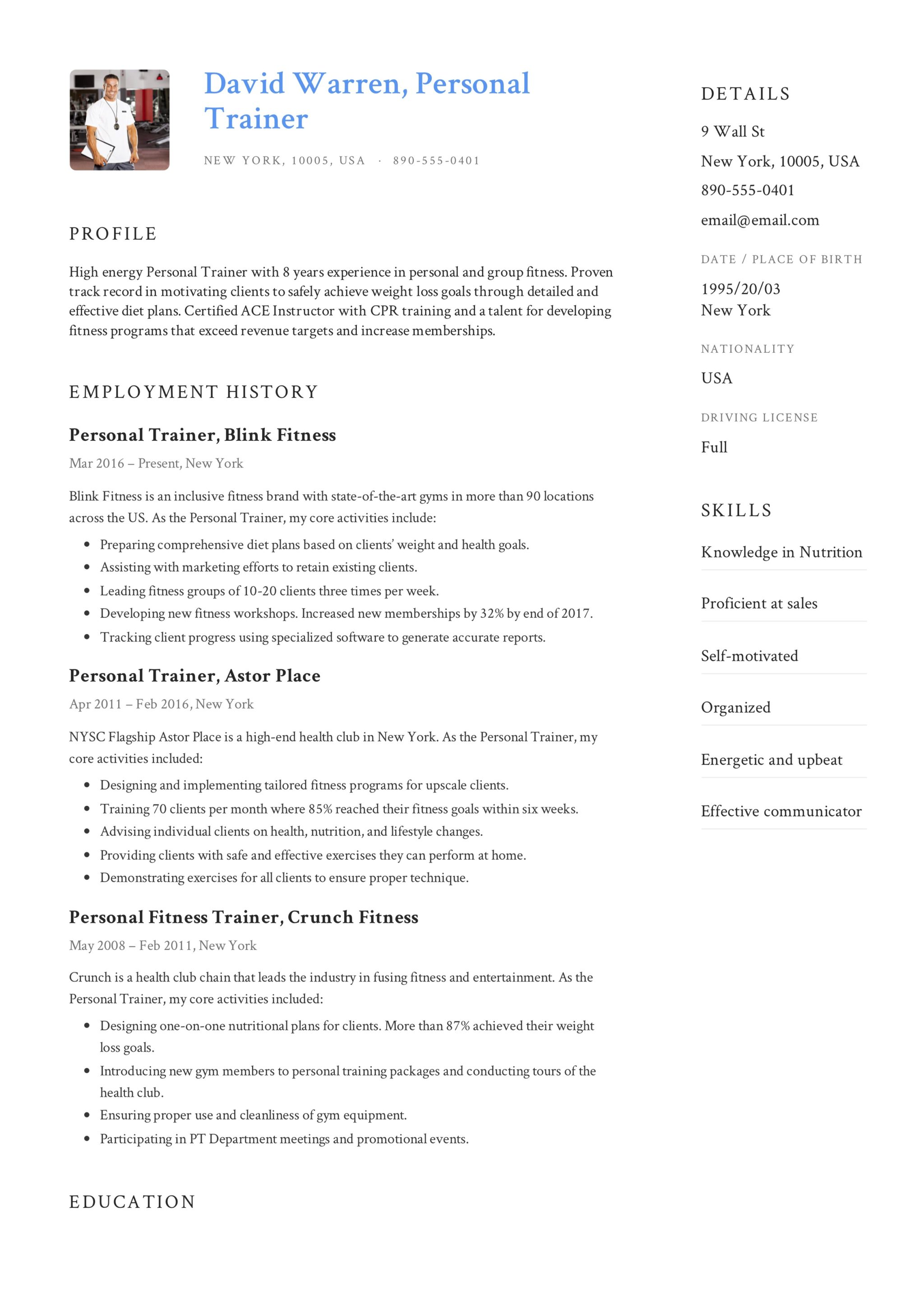 Sample Resume - Personal Trainer