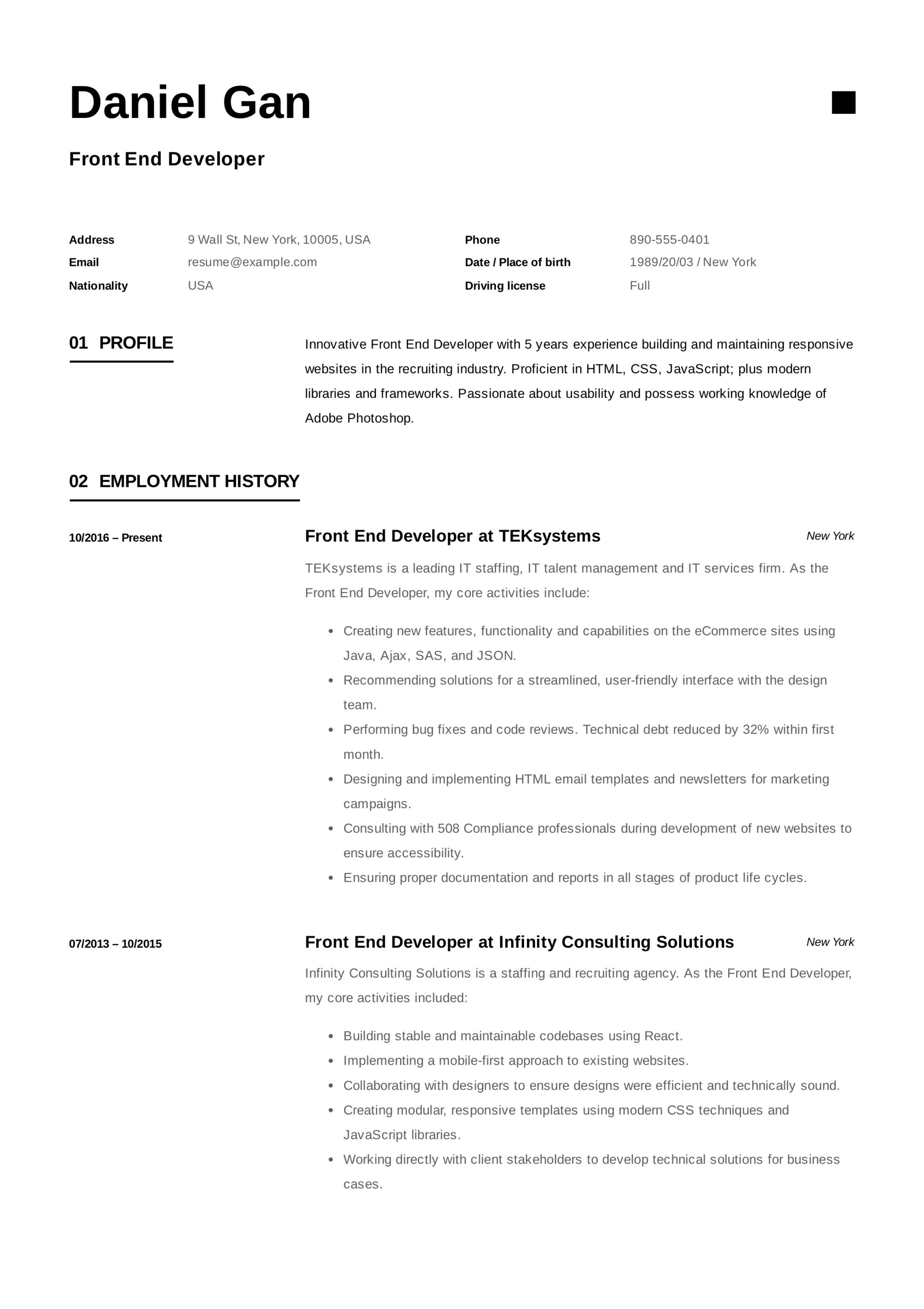 Front End Developer Resume