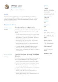 Front End Developer Resume Sample
