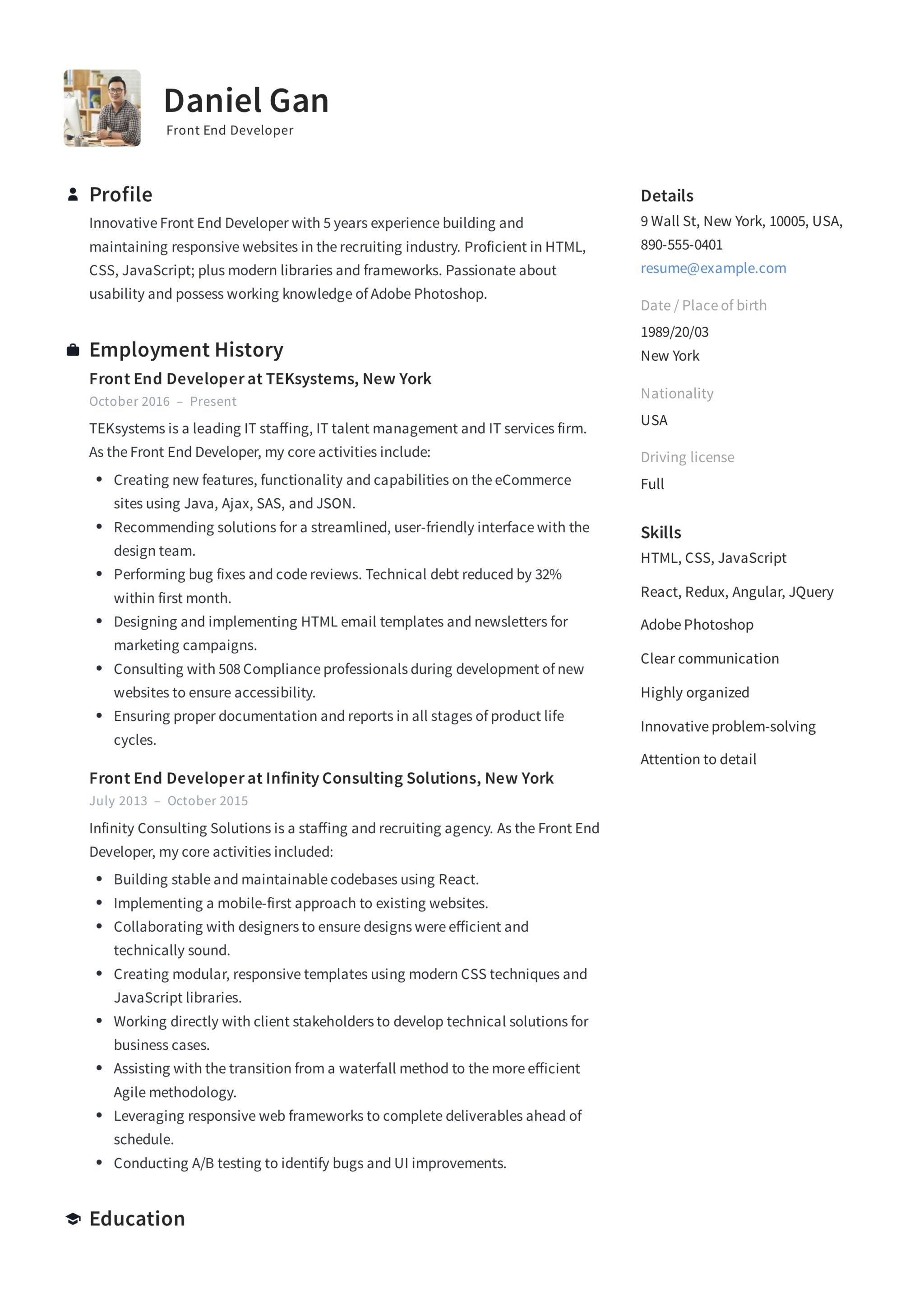 Front End Developer Resume Example