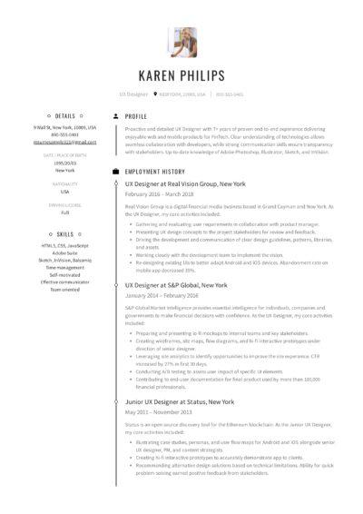 UX Designer Resume Sample - Karen Philips (1)