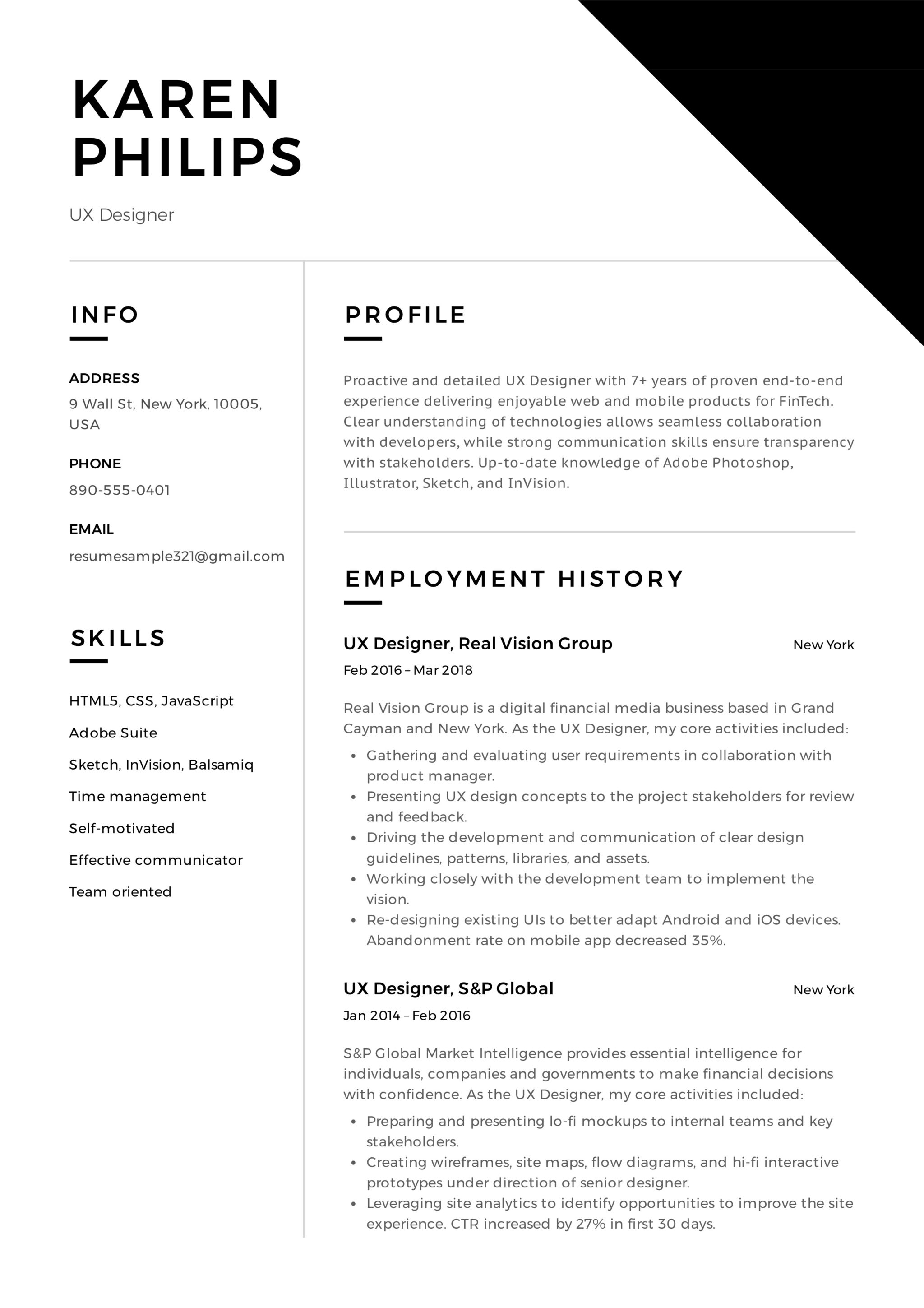 UX Designer Resume Sample