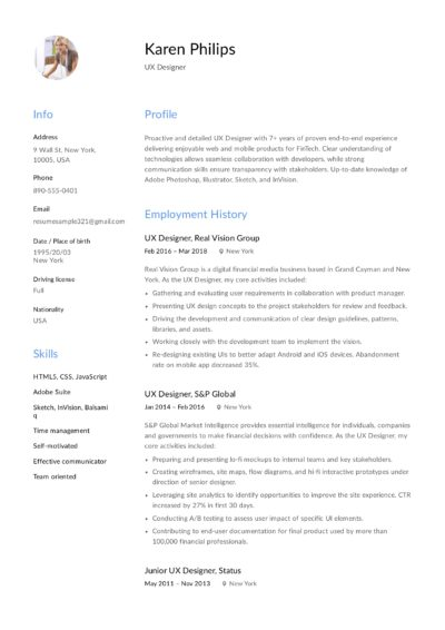 12 ux designer resume sample  s
