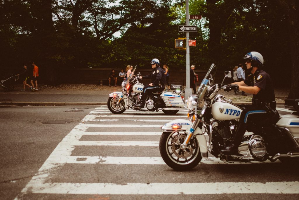 Two Police officers riding motorbikes