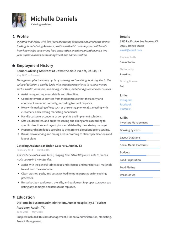 Catering Assistant Resume
