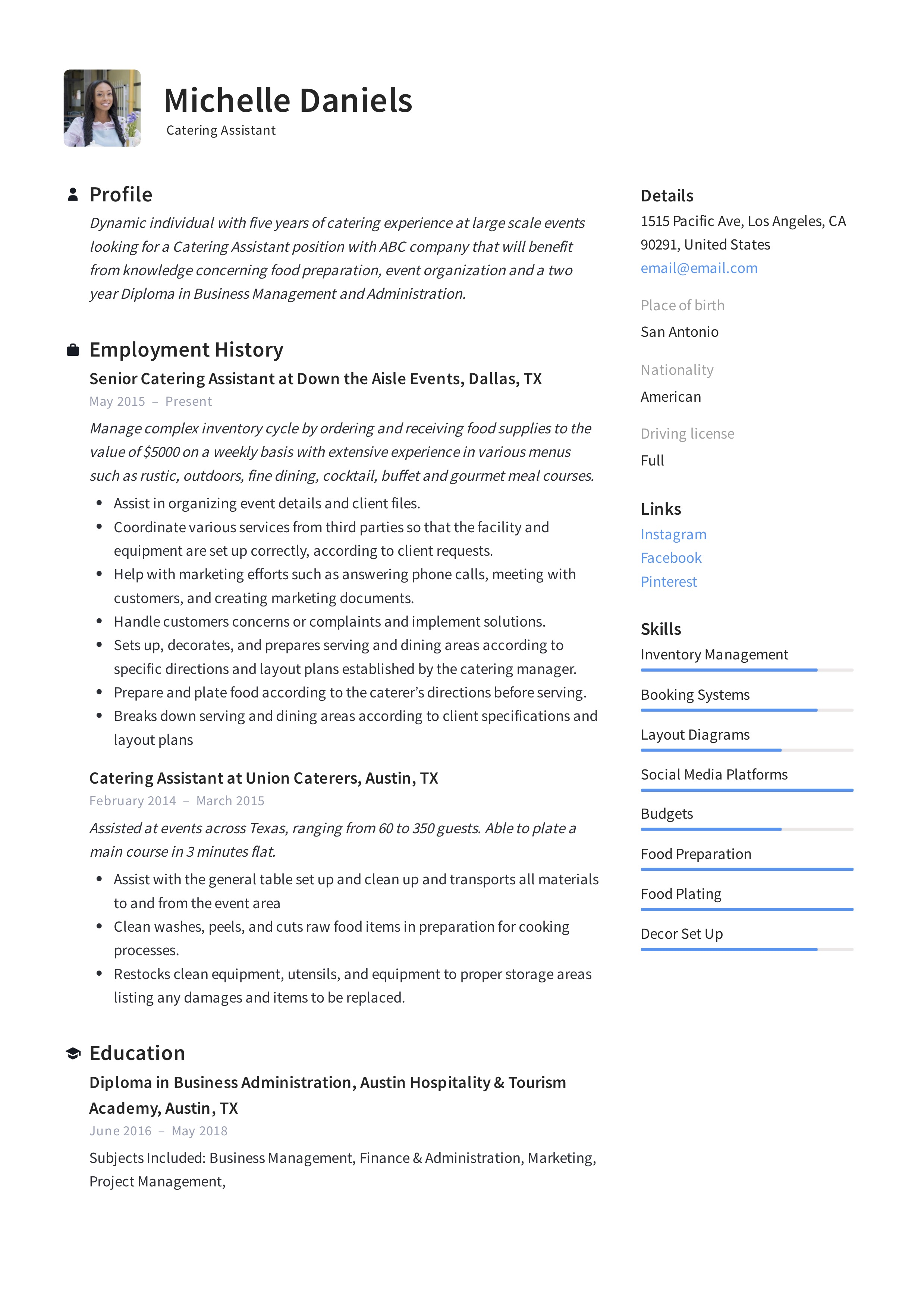 Guide  Catering Assistant Resume    12 Samples     PDF