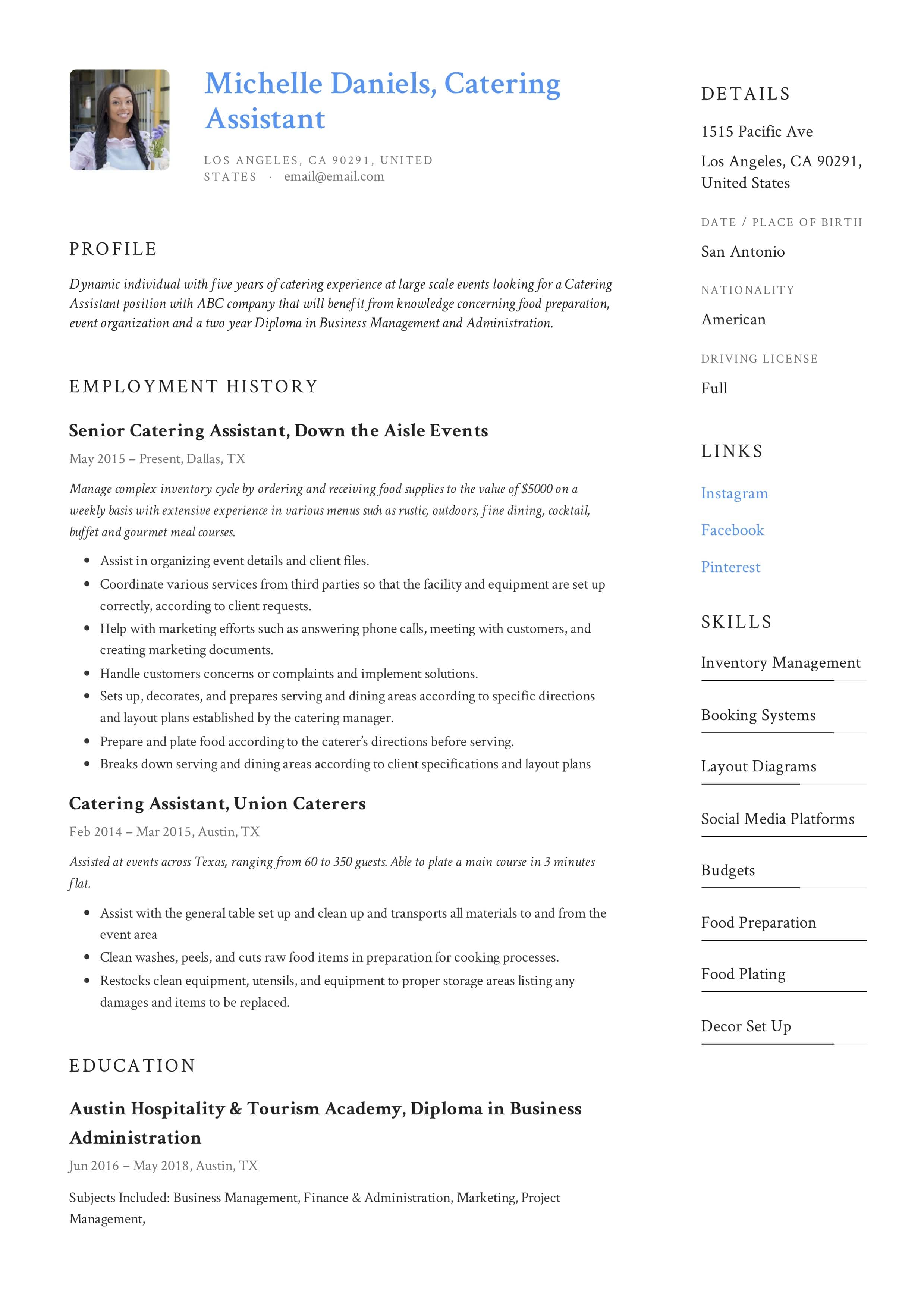 guide  catering assistant resume     12 samples