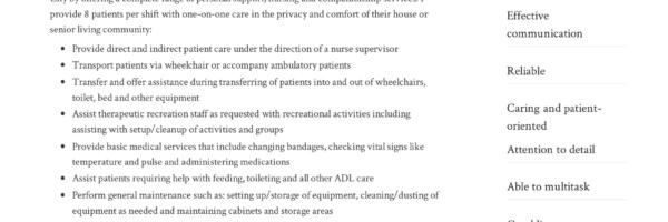 Home Health Aide Resume
