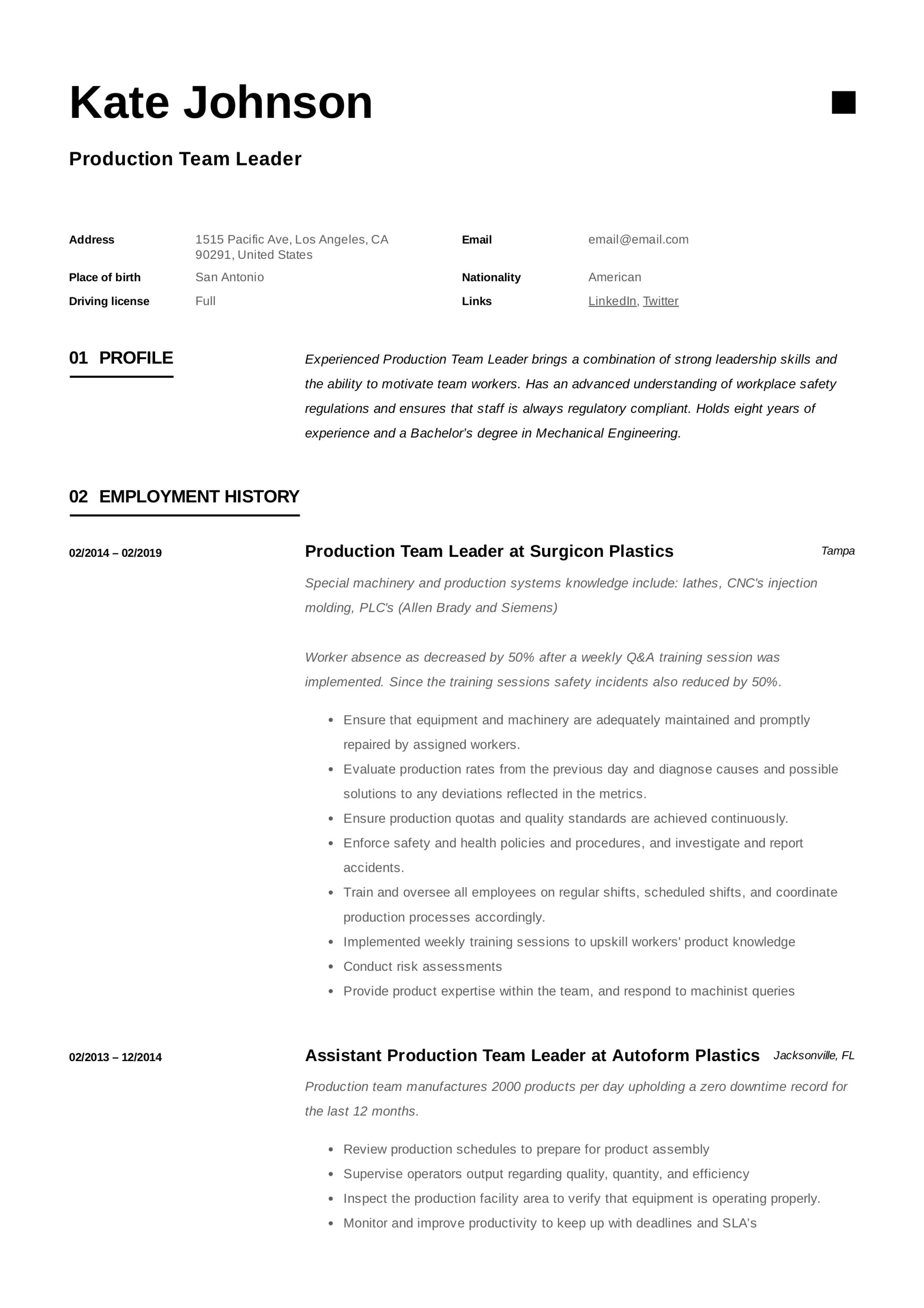 Production Team Leader Resume 10