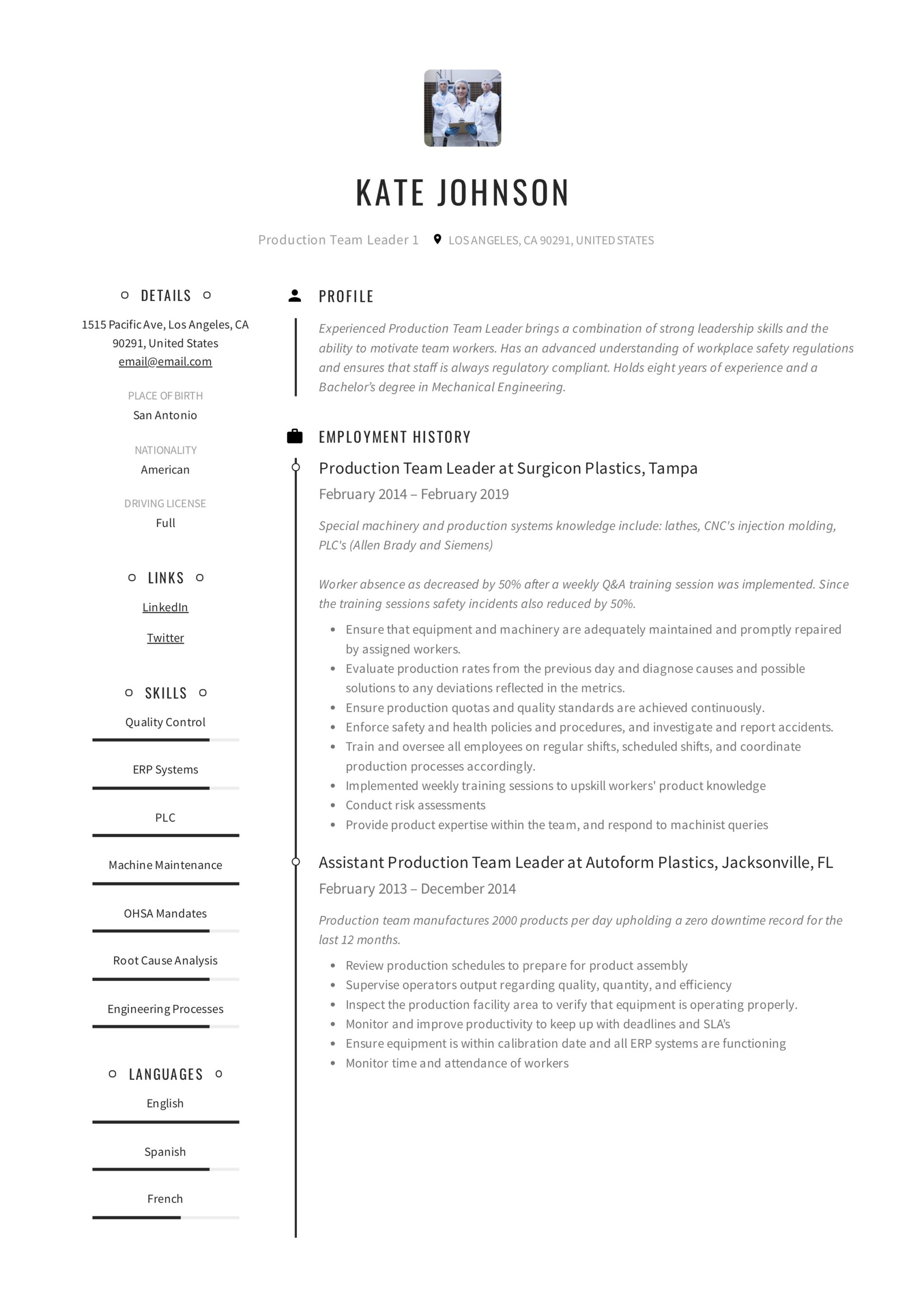 production team leader resume writing guide  u2013 resumeviking com