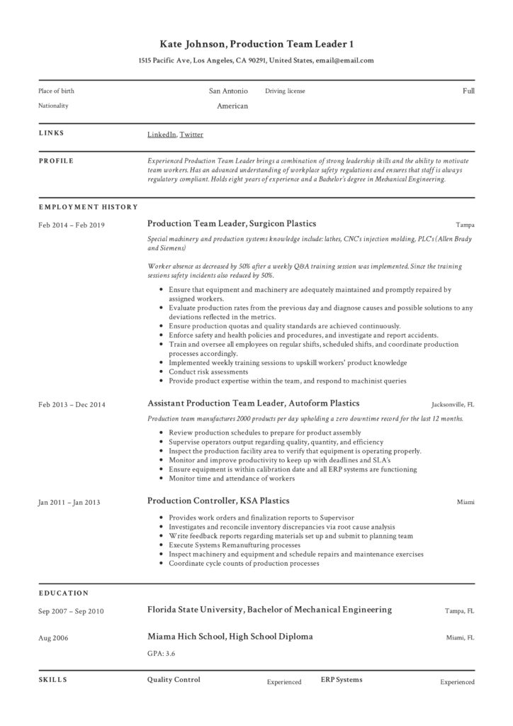 full guide  production team leader resume   12  samples
