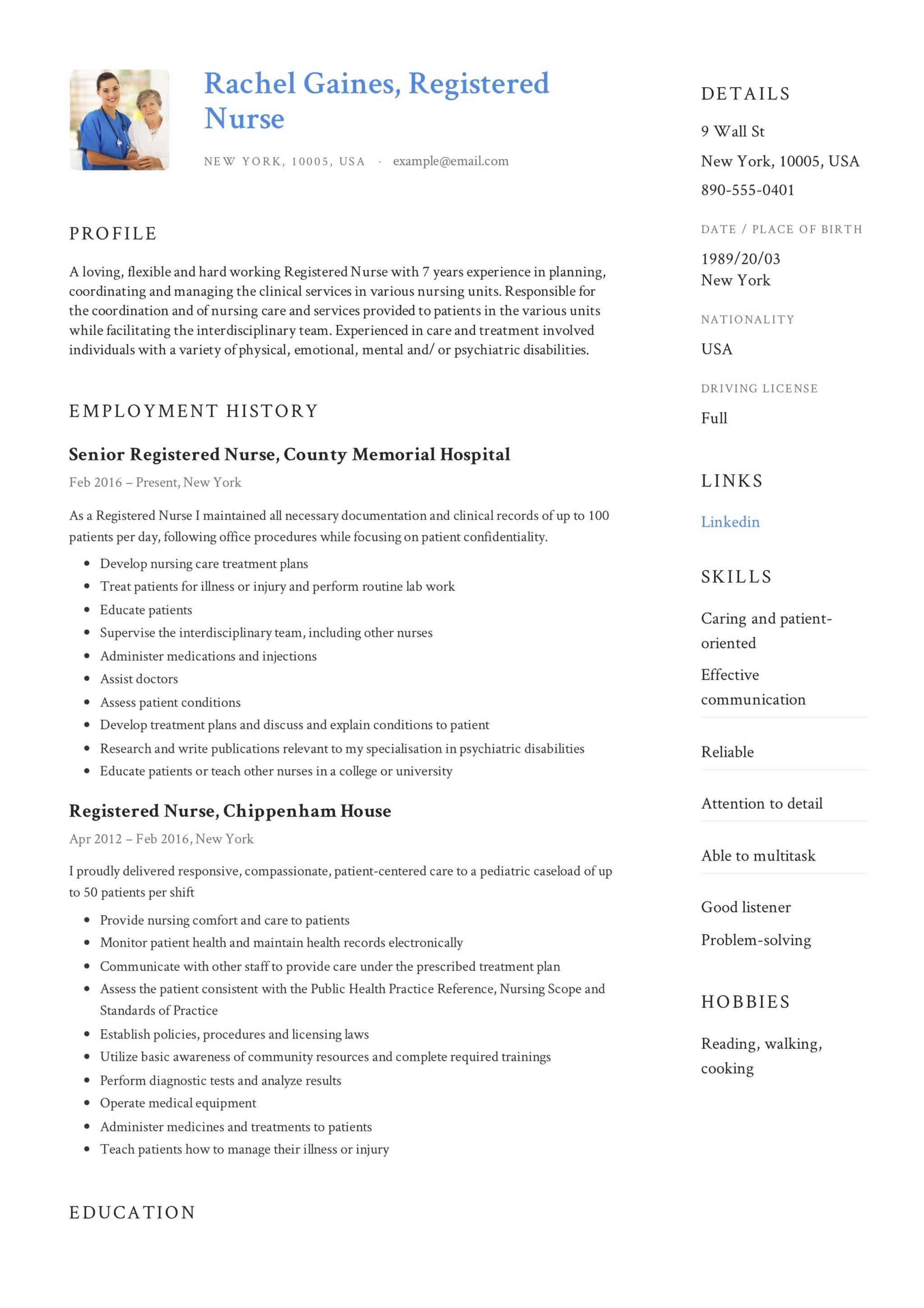 Registered Nurse Resume Sample & Writing Guide | +12 Samples ...