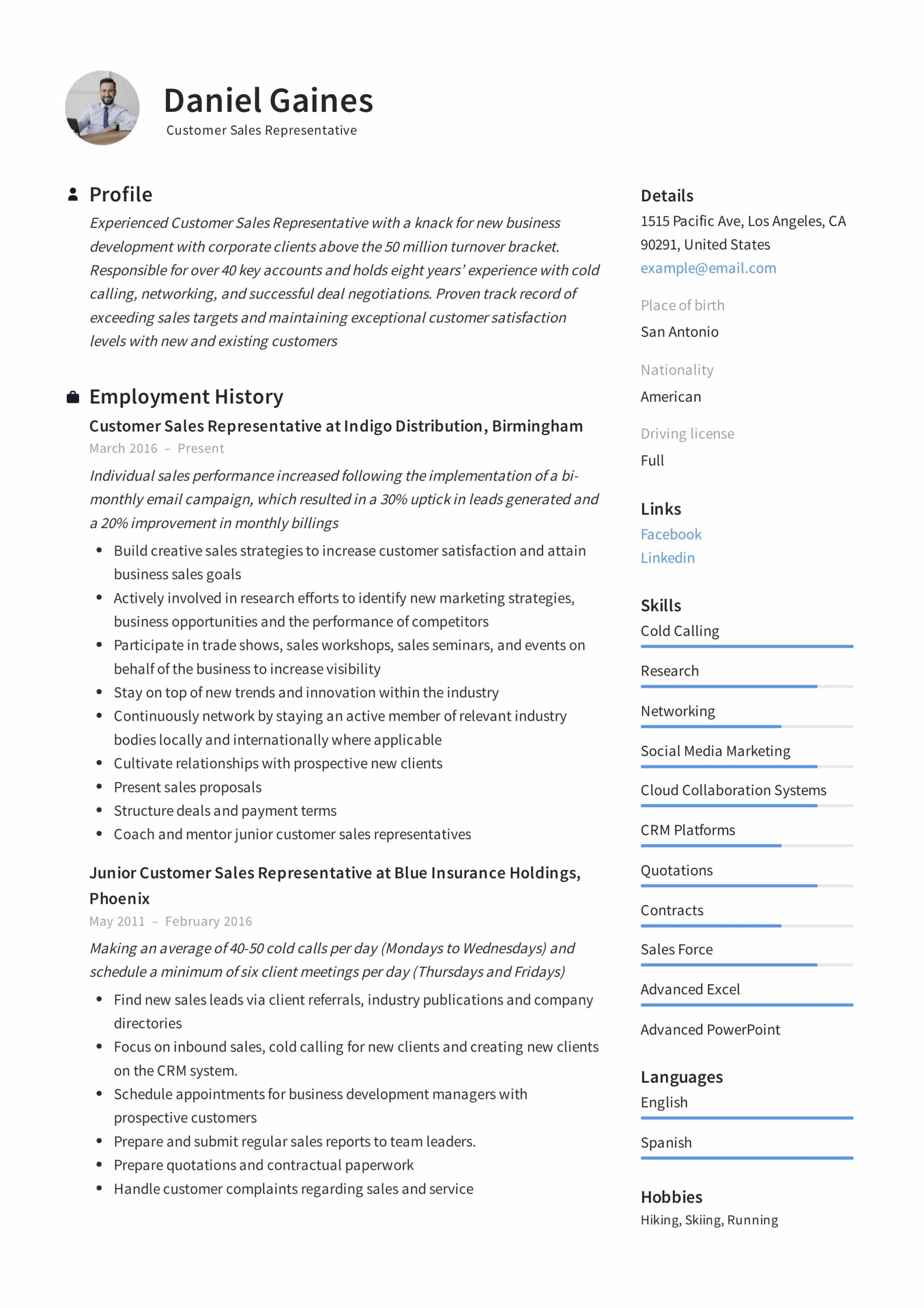 Guide Customer Sales Representative Resume 12 Samples