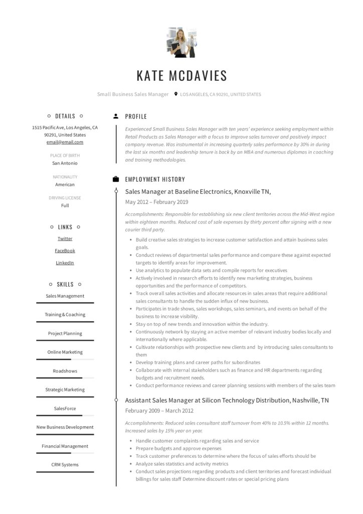 Small Business Sales Manager Resume Sample