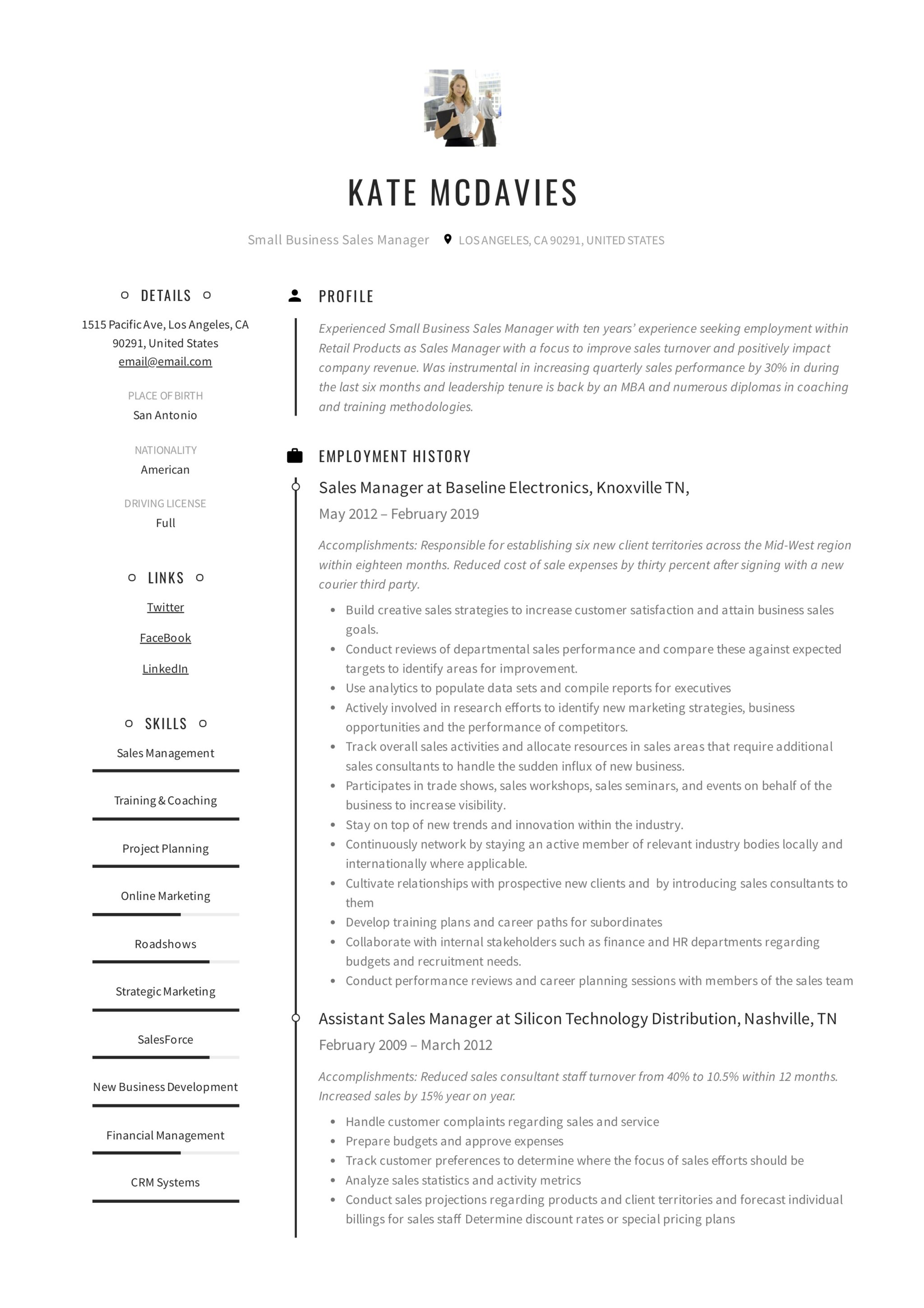 Small Business Sales Manager Resume Example 1
