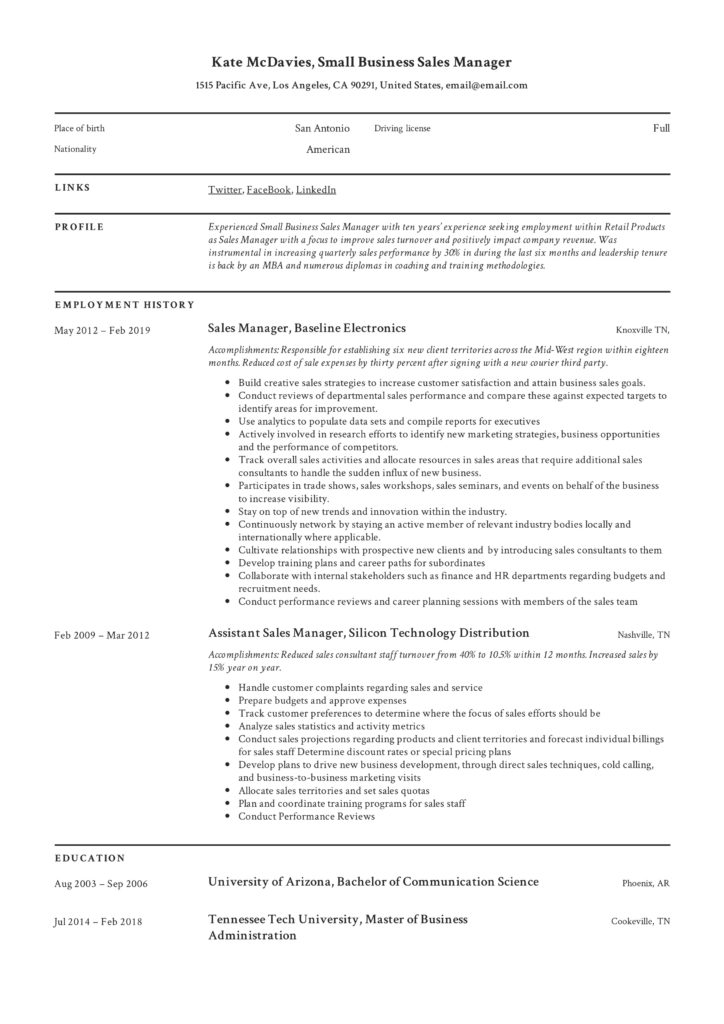 Small Business Sales Manager Resume Example
