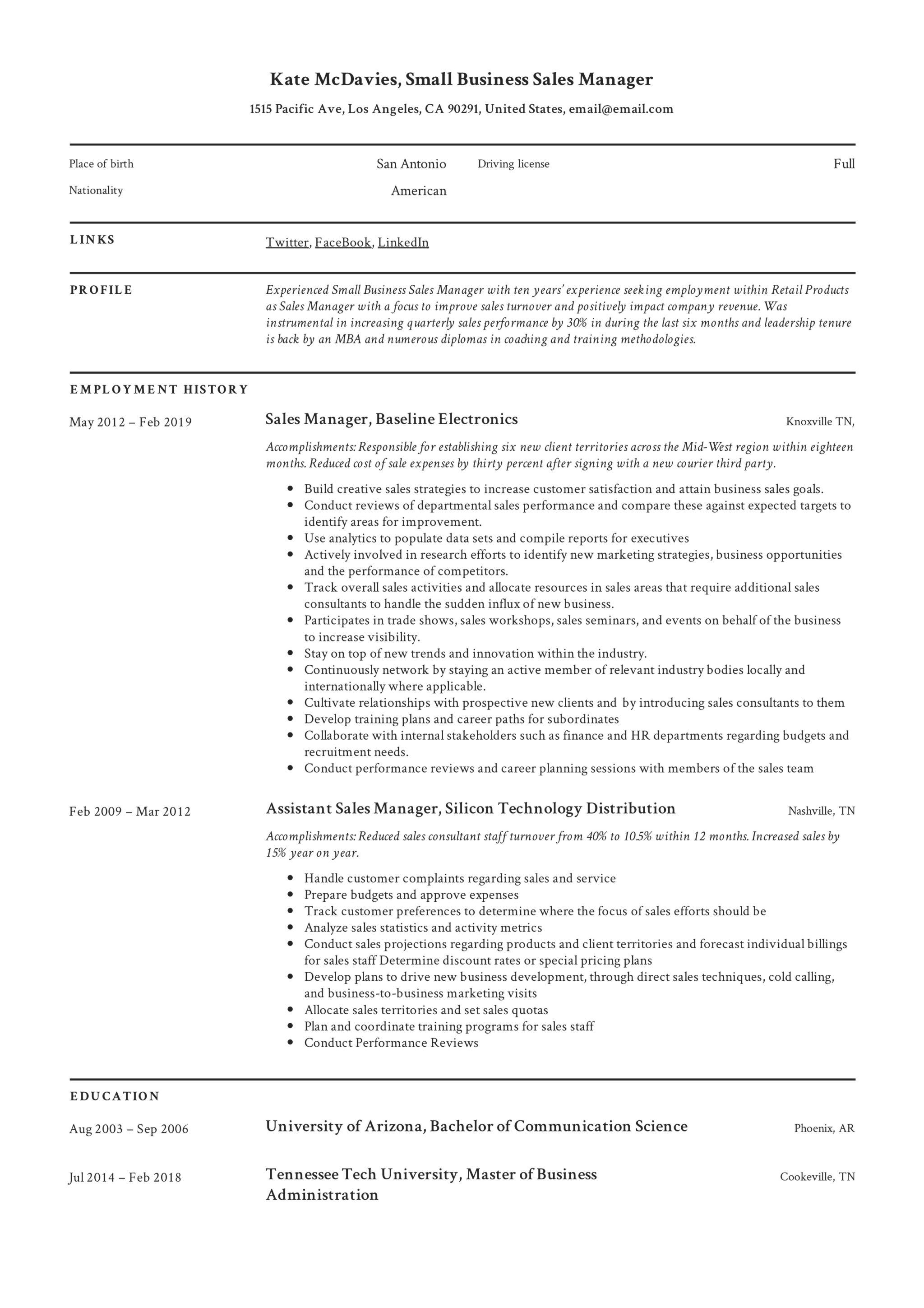 Small Business Sales Manager Resume Example (2)