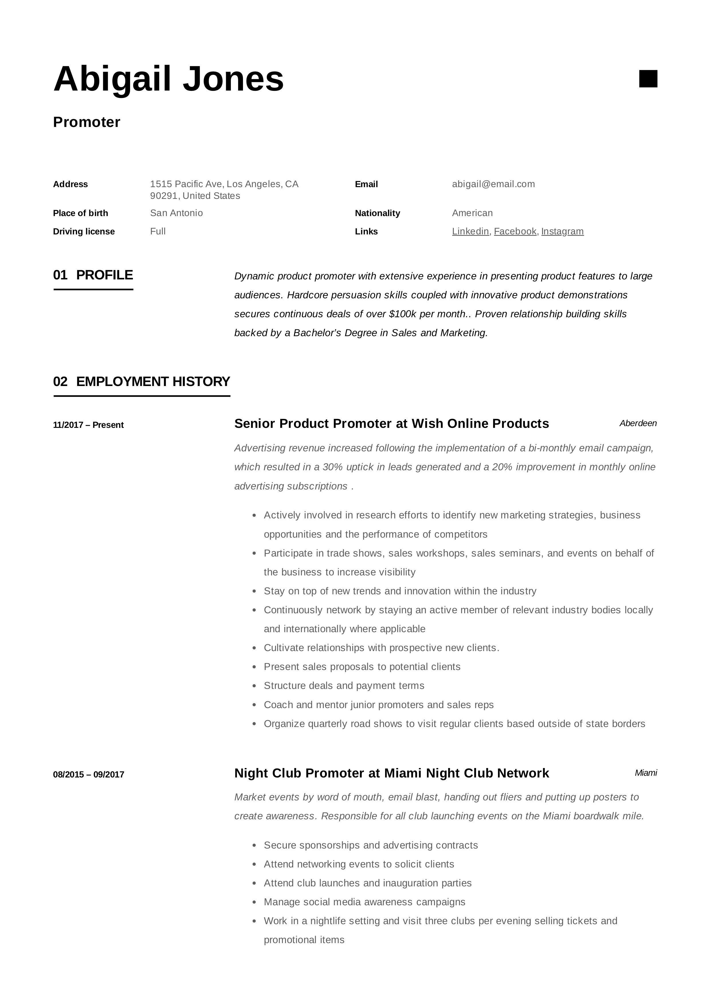 promoter resume example  u0026 writing guide