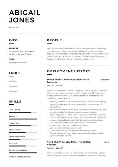 Promoter CV