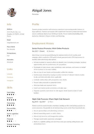 Creative Promoter Resume