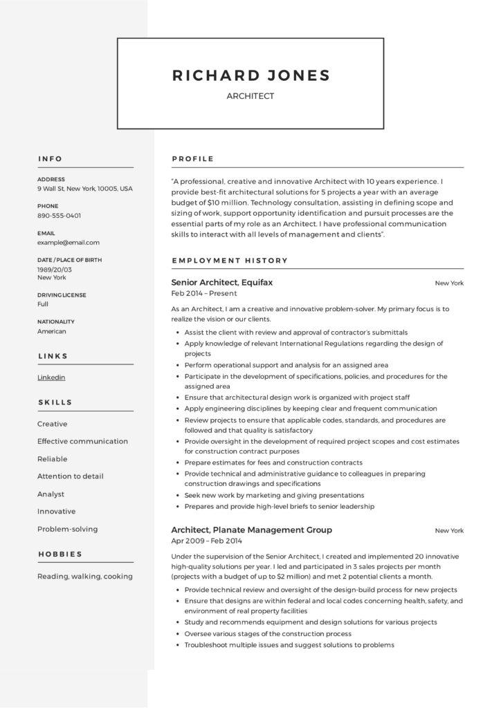 architect resume  u0026 writing guide
