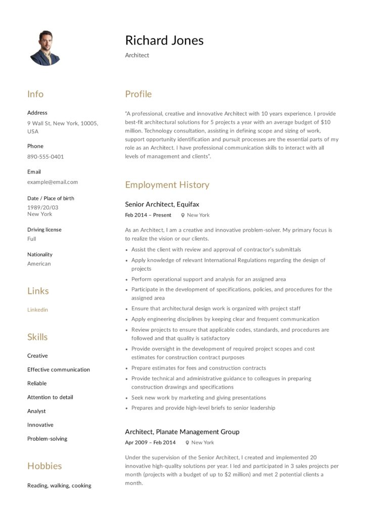 architect resume sample  writing guide  resumeviking