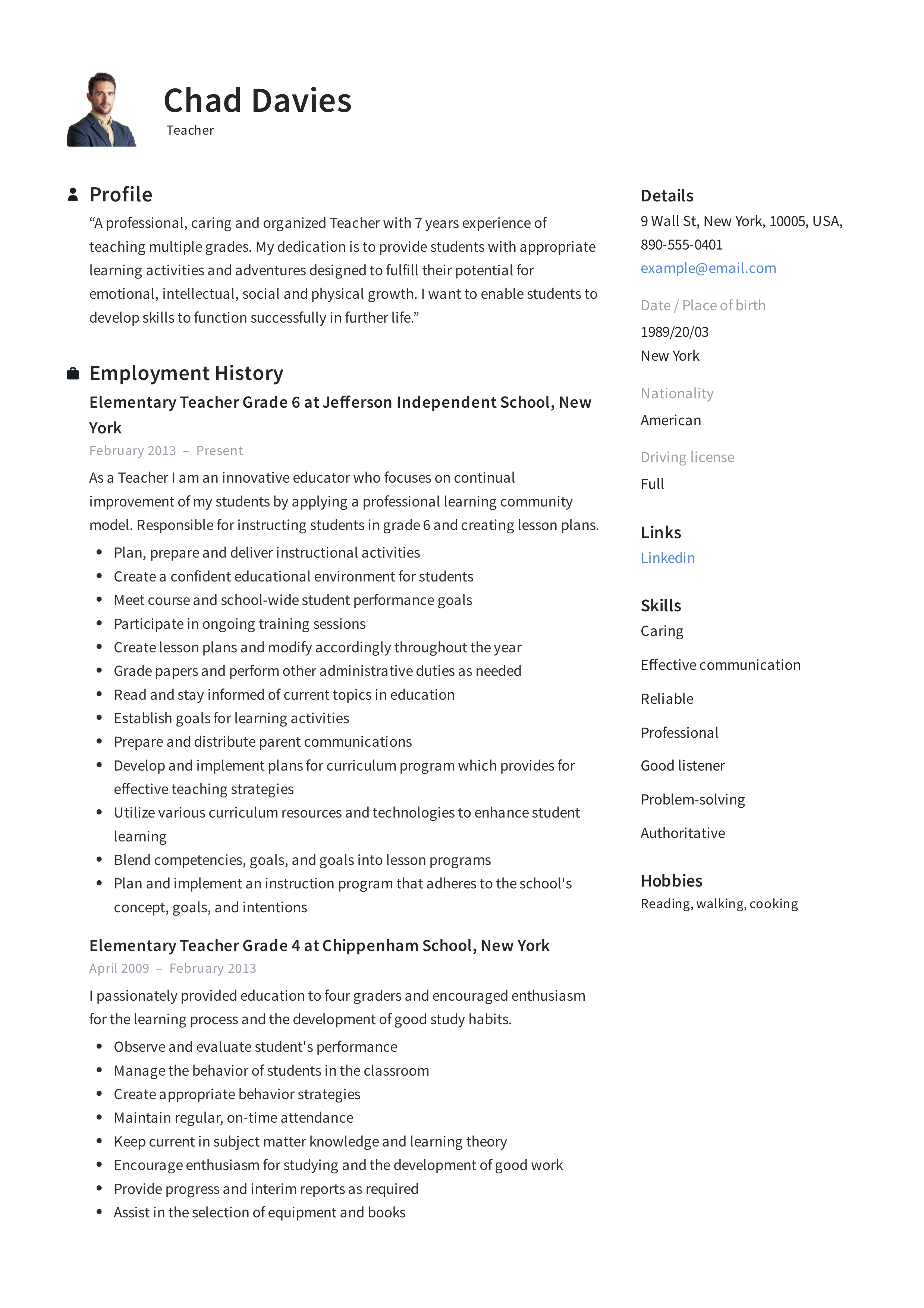 Teacher Resume Writing Guide 12 Samples Pdf 2019