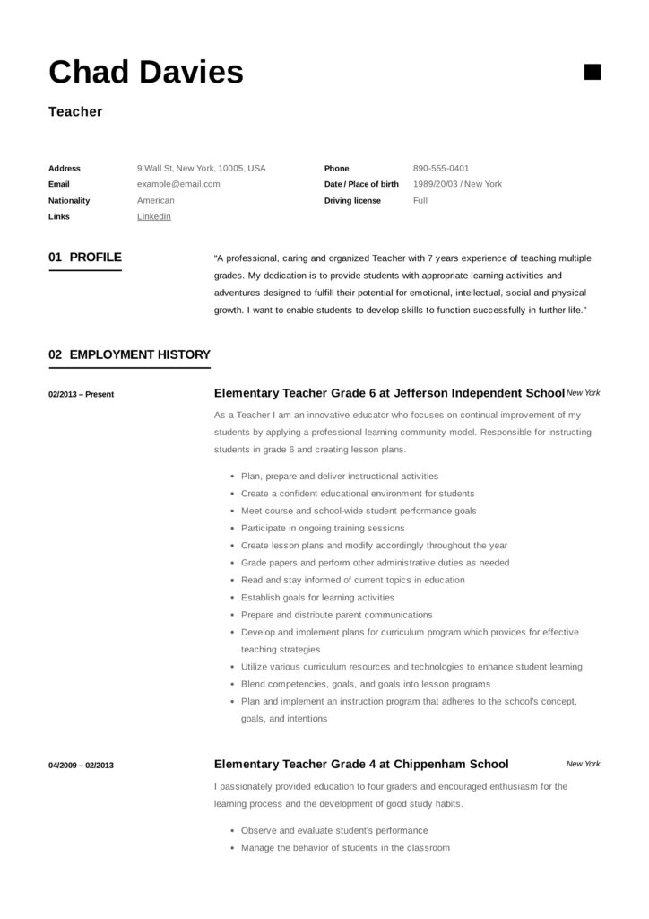 Creative Elementary Teacher Resume Sample