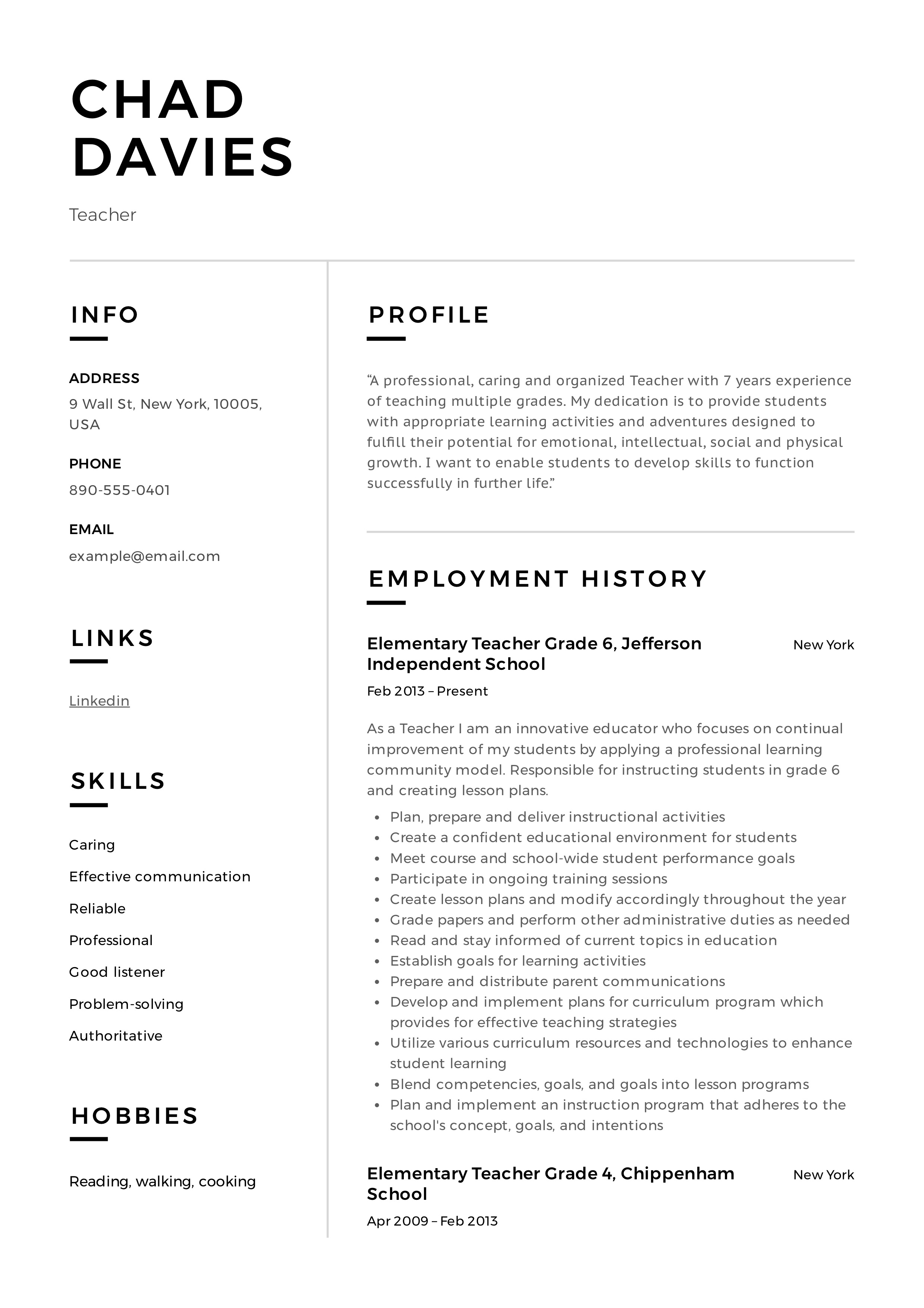 teacher resume  u0026 writing guide