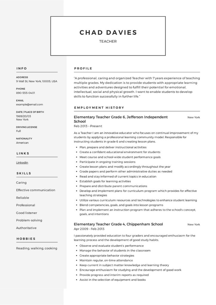 Design Teacher Resume Sample