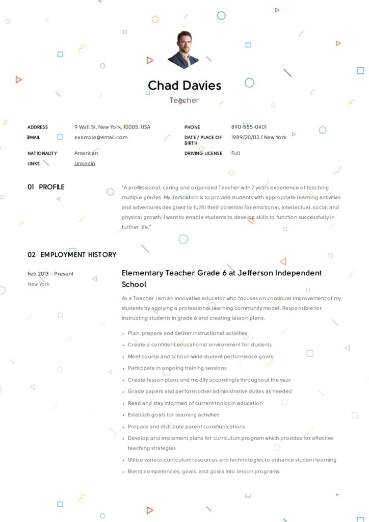 Creative Elementary Teacher Resume Example