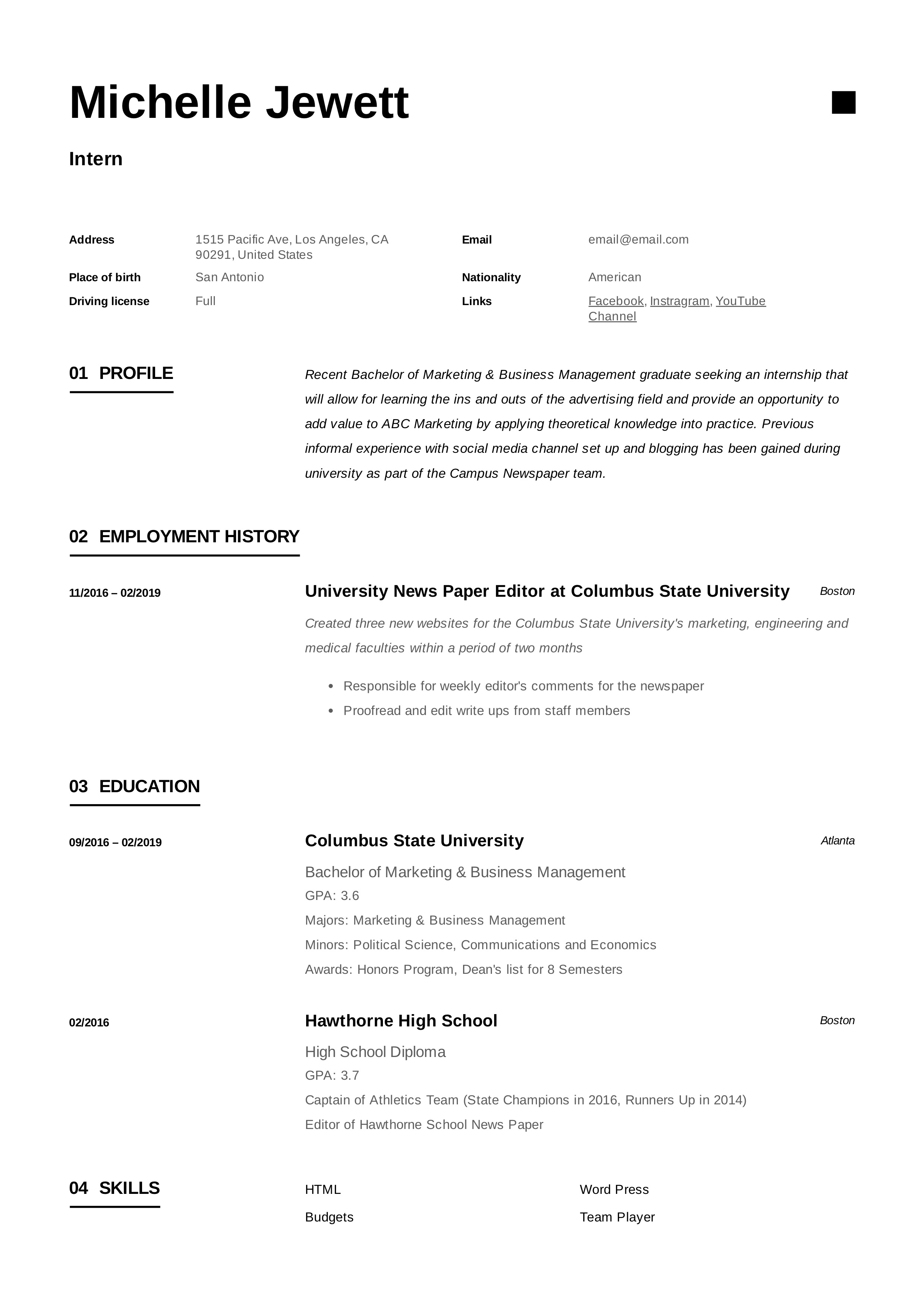 intern resume  u0026 writing guide