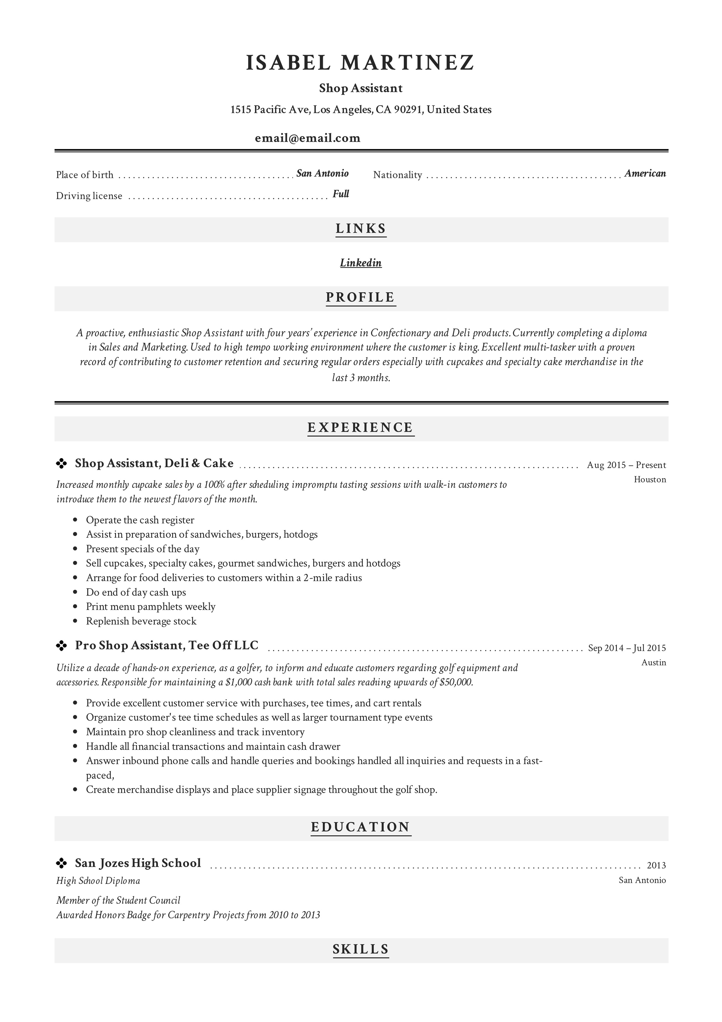 Shop Assistant Resume Example Writing Guide Pdf Samples 2019