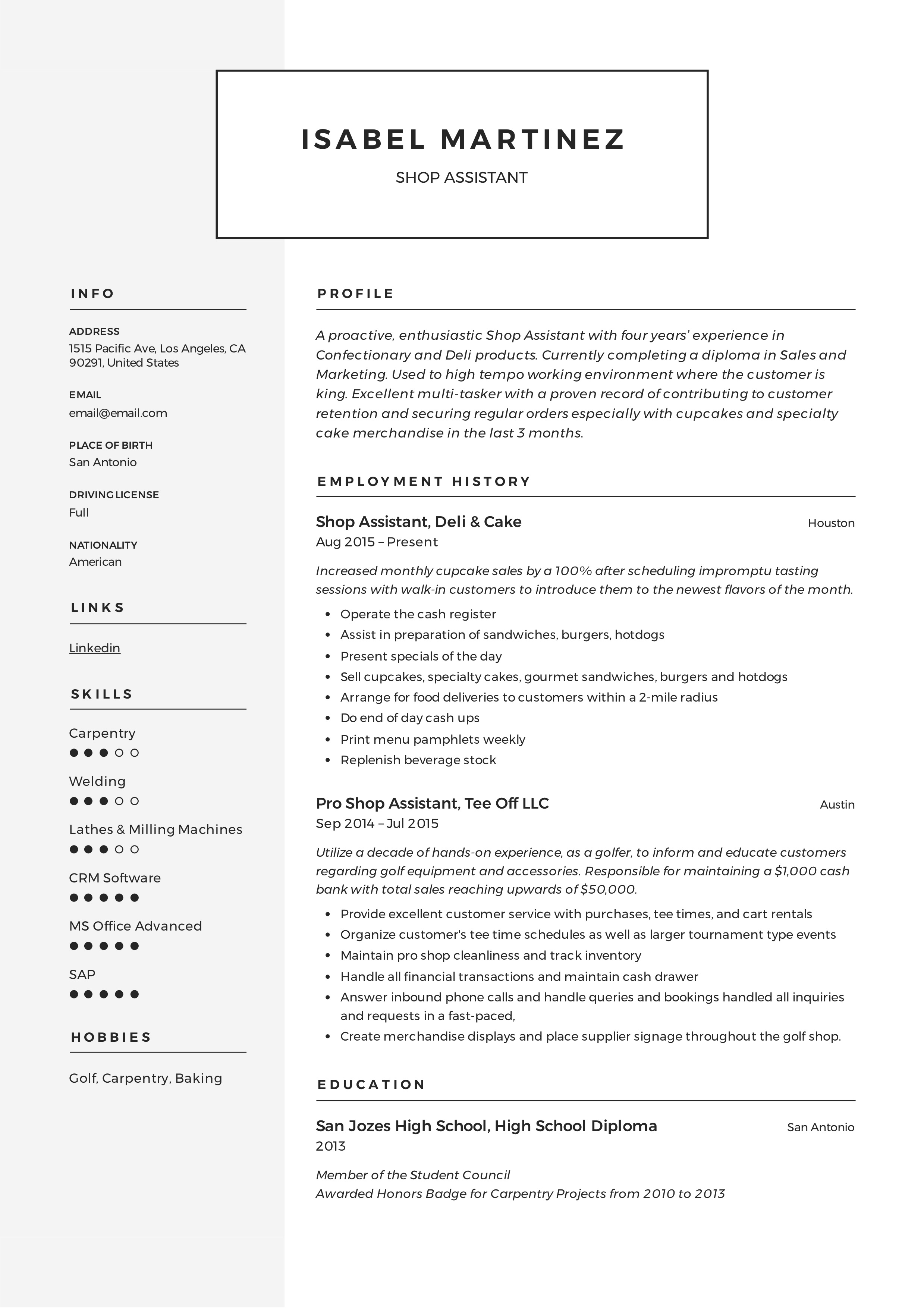 Shop Assistant Resume Example  amp