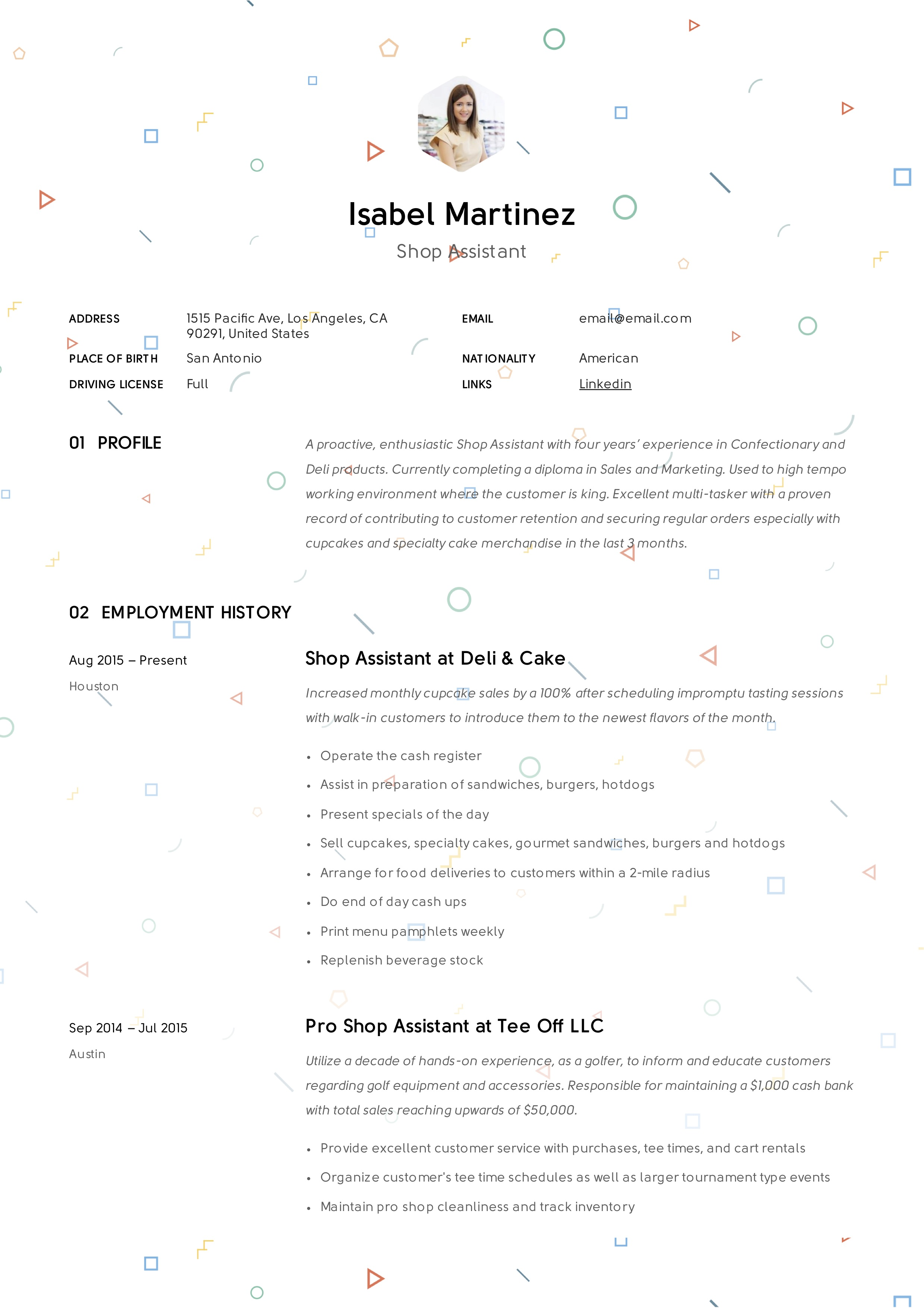 Create Resume for Shop Assistants