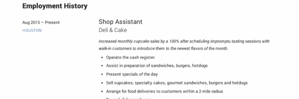 Shop Assistant Resume Example & Writing Guide | PDF Samples | 2019