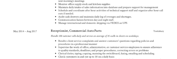 Receptionist Resume Sample | Receptionist Resume Example Writing Guide 12 Samples Pdf 2019