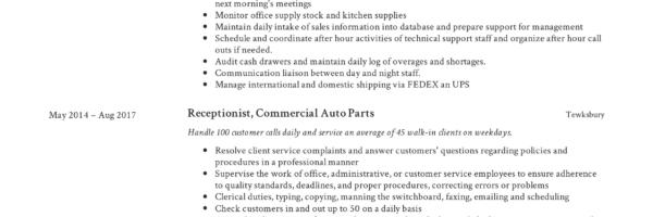 Receptionist Resume Example Sample
