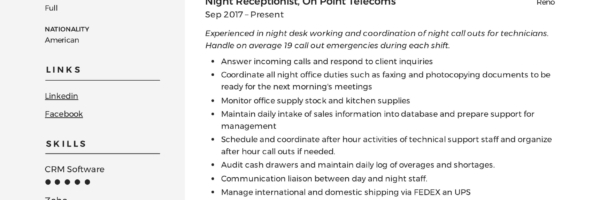 Receptionist Resume Example Writing Guide