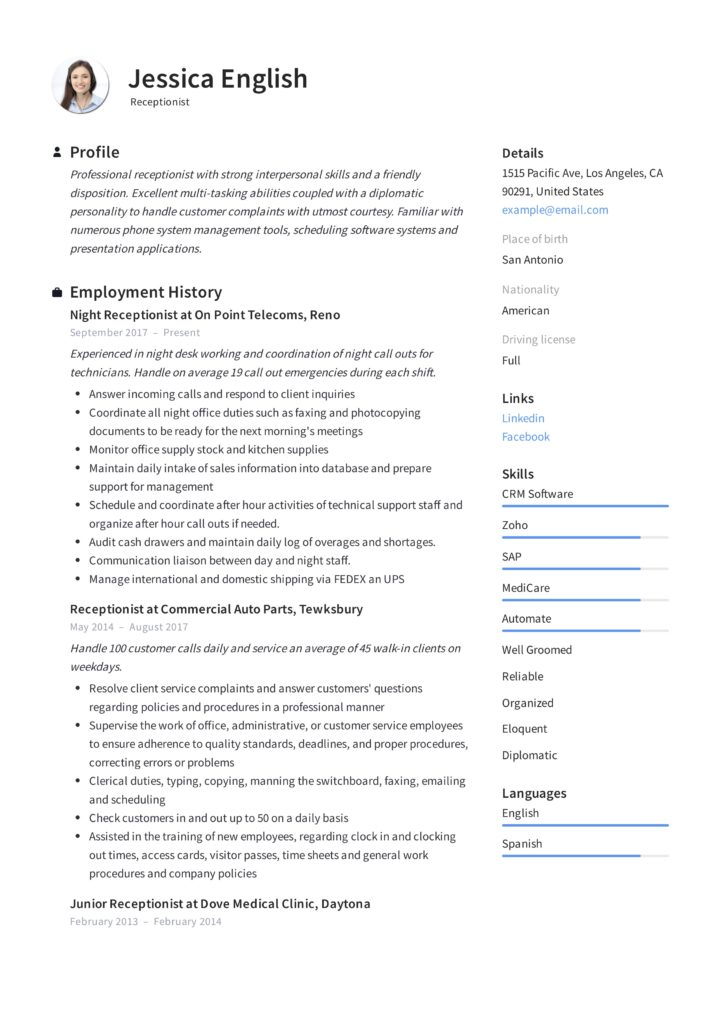 receptionist resume example  u0026 writing guide