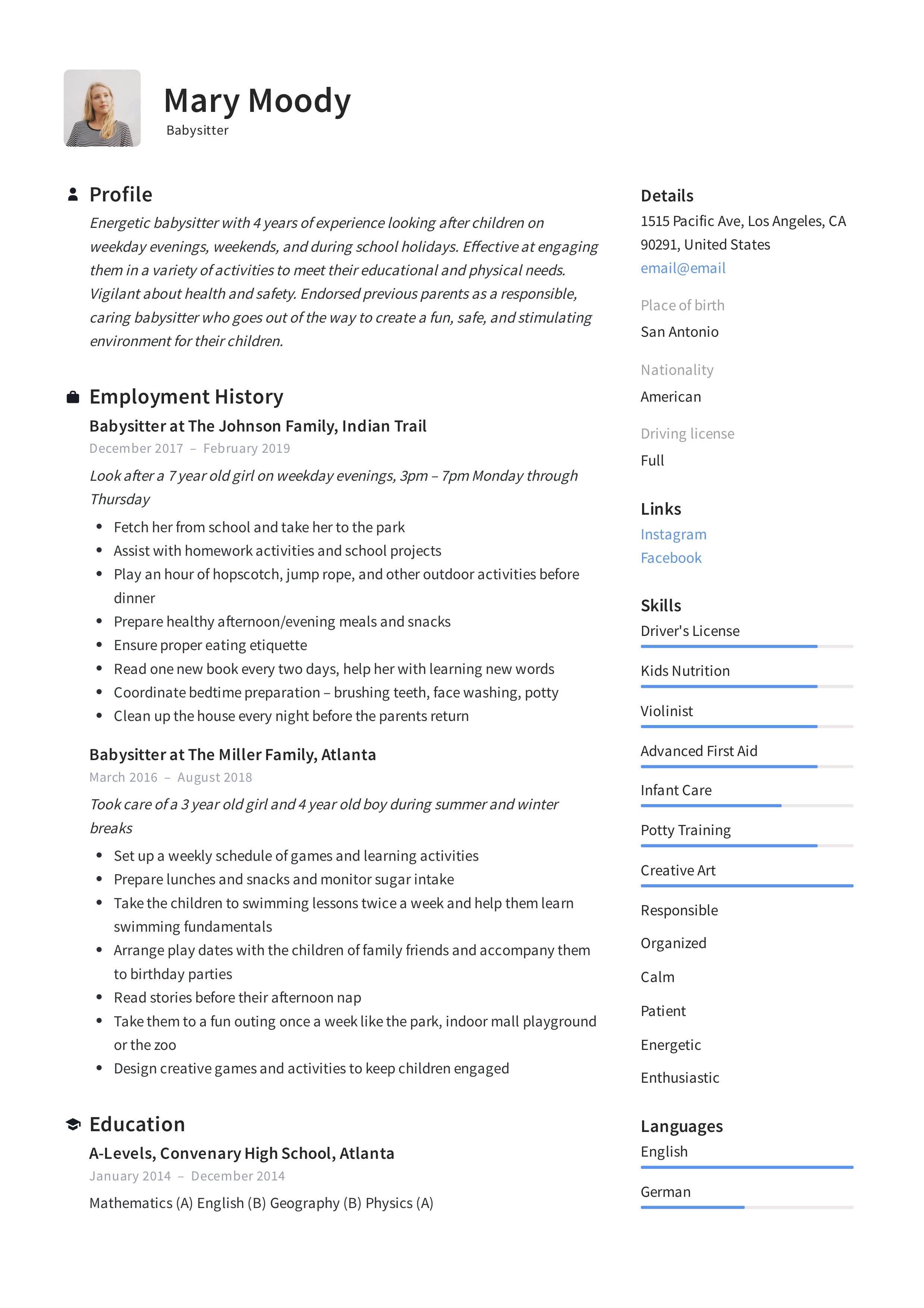 babysitter resume example  u0026 writing guide