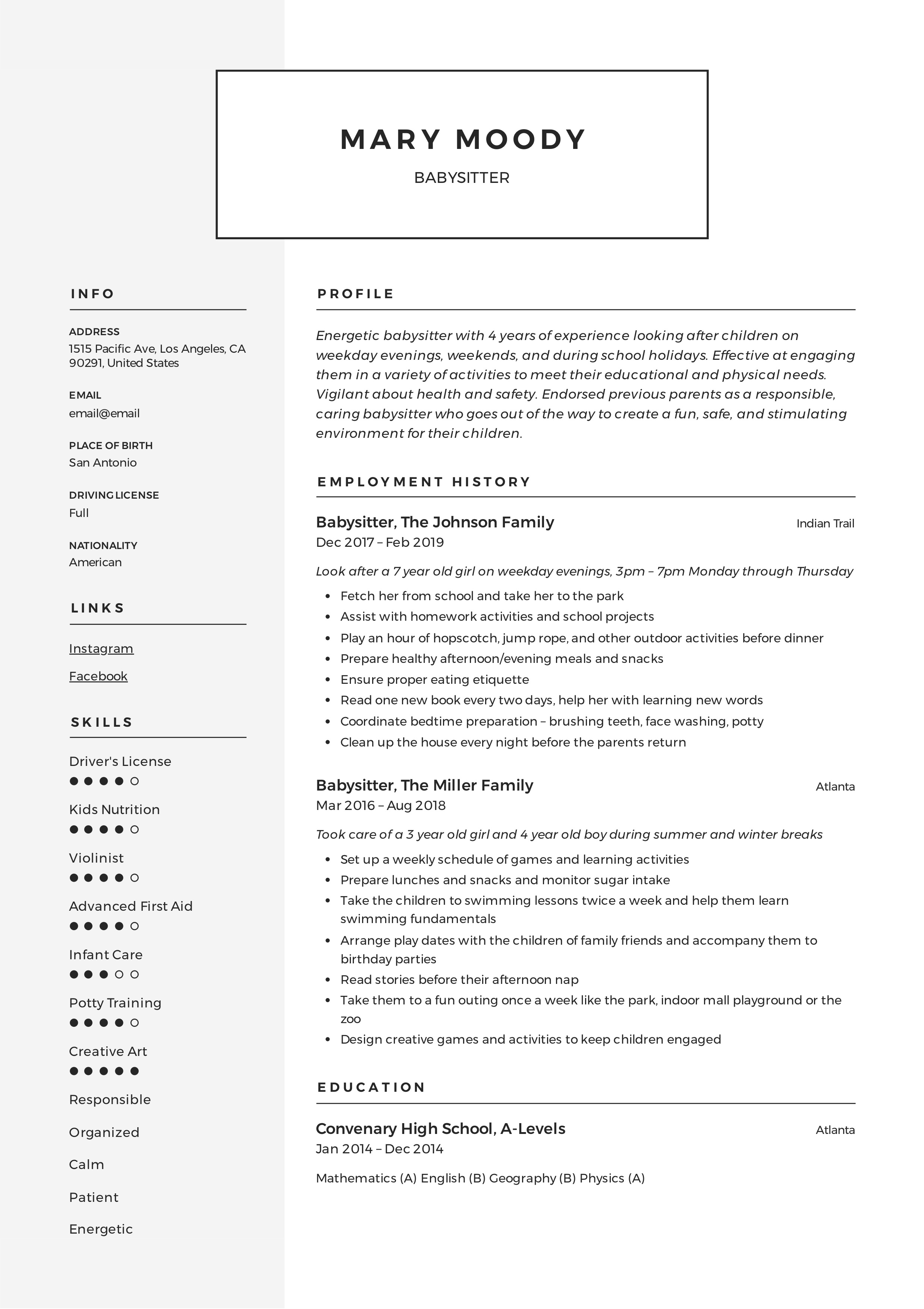 Babysitter Resume Example Amp Writing Guide 12 Samples