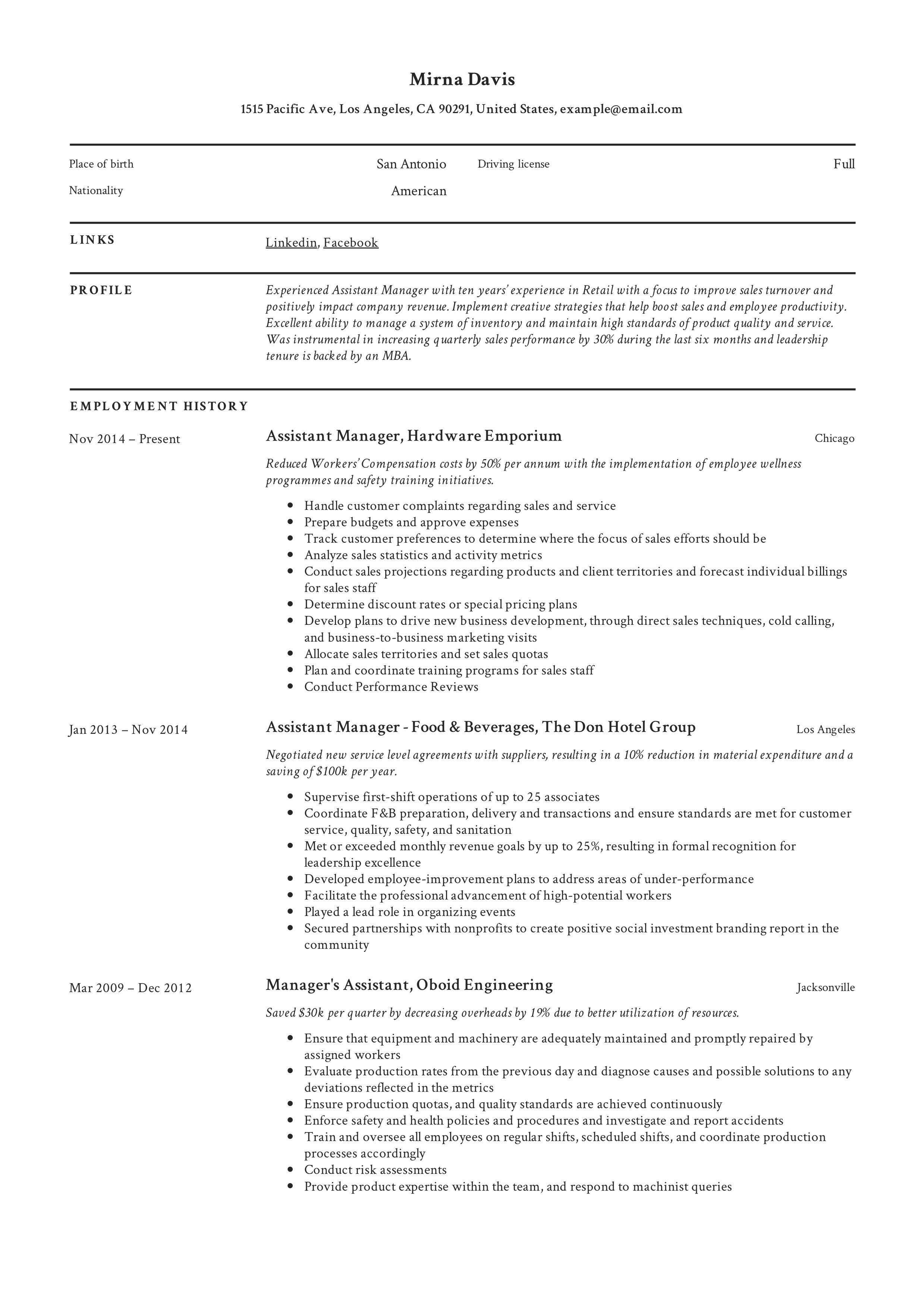 assistant manager resume  u0026 writing guide