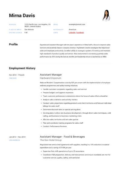 Shop Assistant CV
