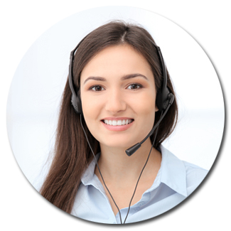 Receptionist profile photo of a young pretty woman with a headset on