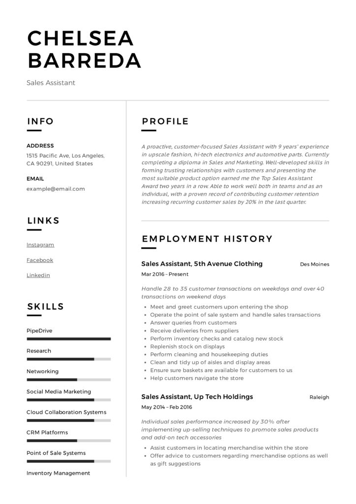 Sales Assistant Resume Example