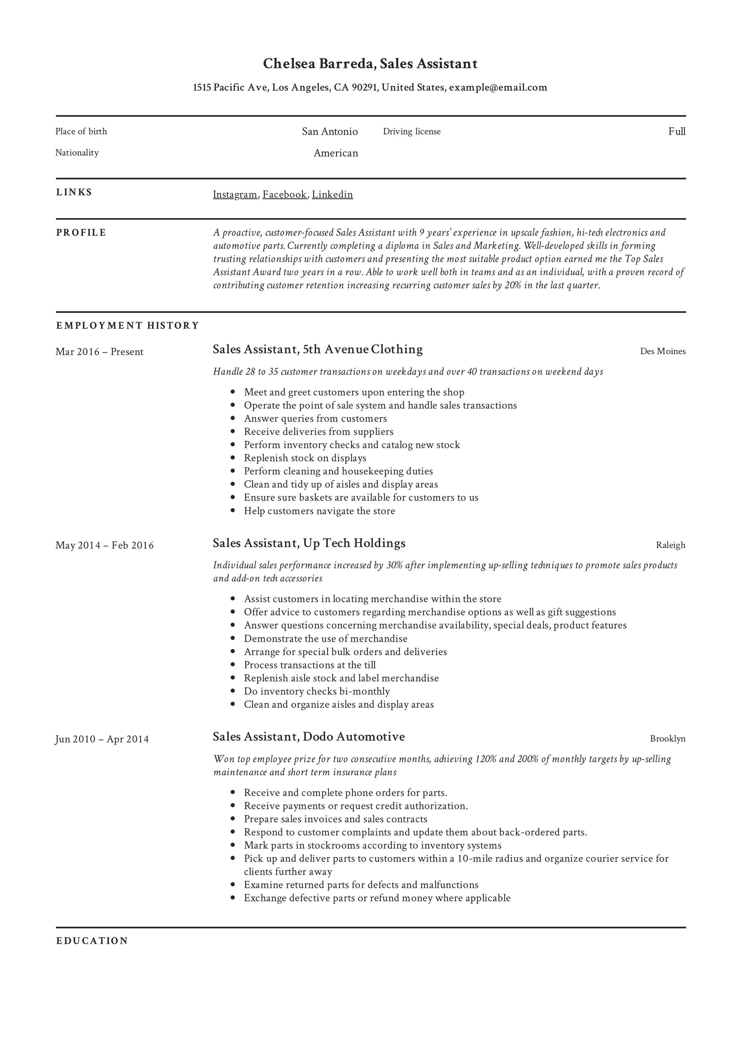 sales assistant resume  u0026 writing guide