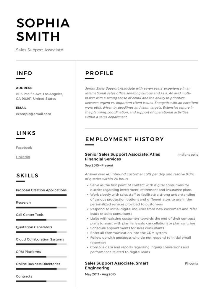 Sales Support Associate Design Resume